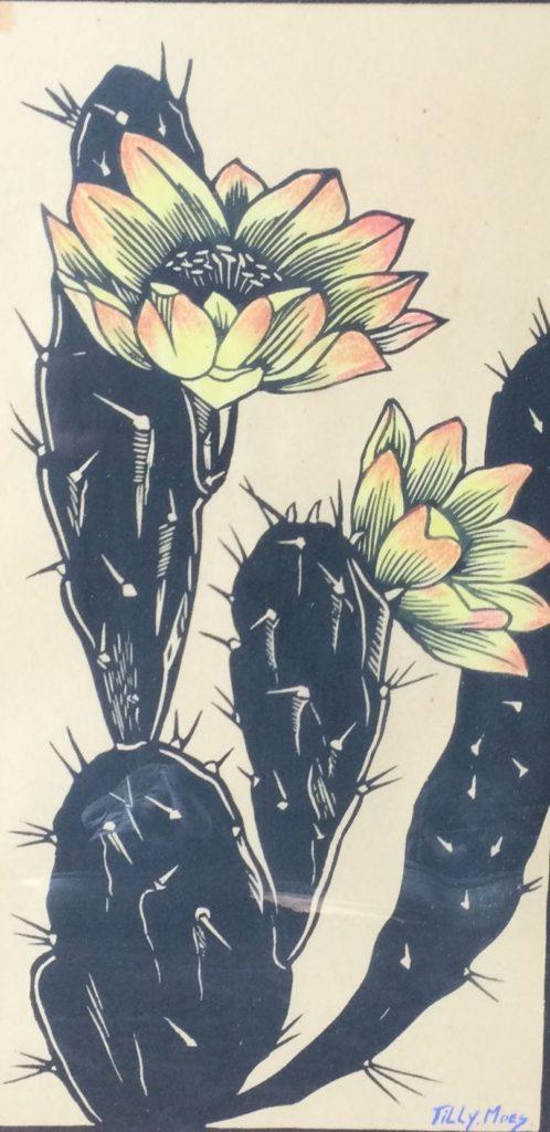 Kunst te koop bij Galerie Wijdemeren van kunstenaar Tilly Moes Cactus lino/houtsnede, ingekleurd met pastelkrijt, 31.5 x 16 cm rechtsonder handgesigneerd met aquarelverf