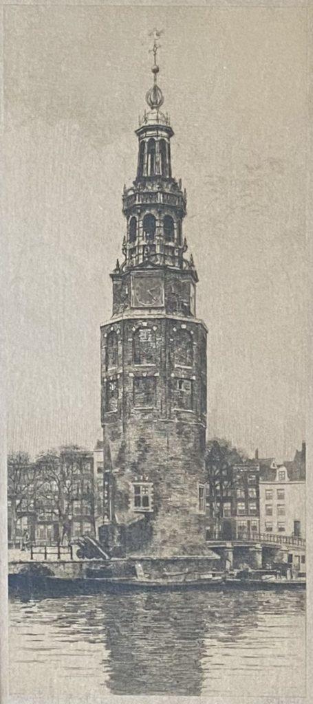Kunst te koop bij Galerie Wijdemeren van Dirk Harting Montelbaanstoren Amsterdam ets, 32 x 14.5 cm rechtsonder handgesigneerd