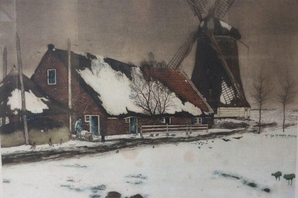 Kunst te koop bij Galerie Wijdemeren, Tjeerd Bottema Winters boerderijgezicht met hooiberg ets, 36 x 53 cm rechtsonder handgesigneerd