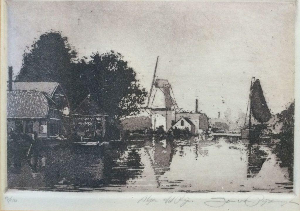 Kunst te koop bij galerie Wijdemeren Jan van Rijsewijk Alphen a/d Rijn ets, 11.5 x 15.5 cm rechtsonder handgesigneerd, linksonder oplage 14/100