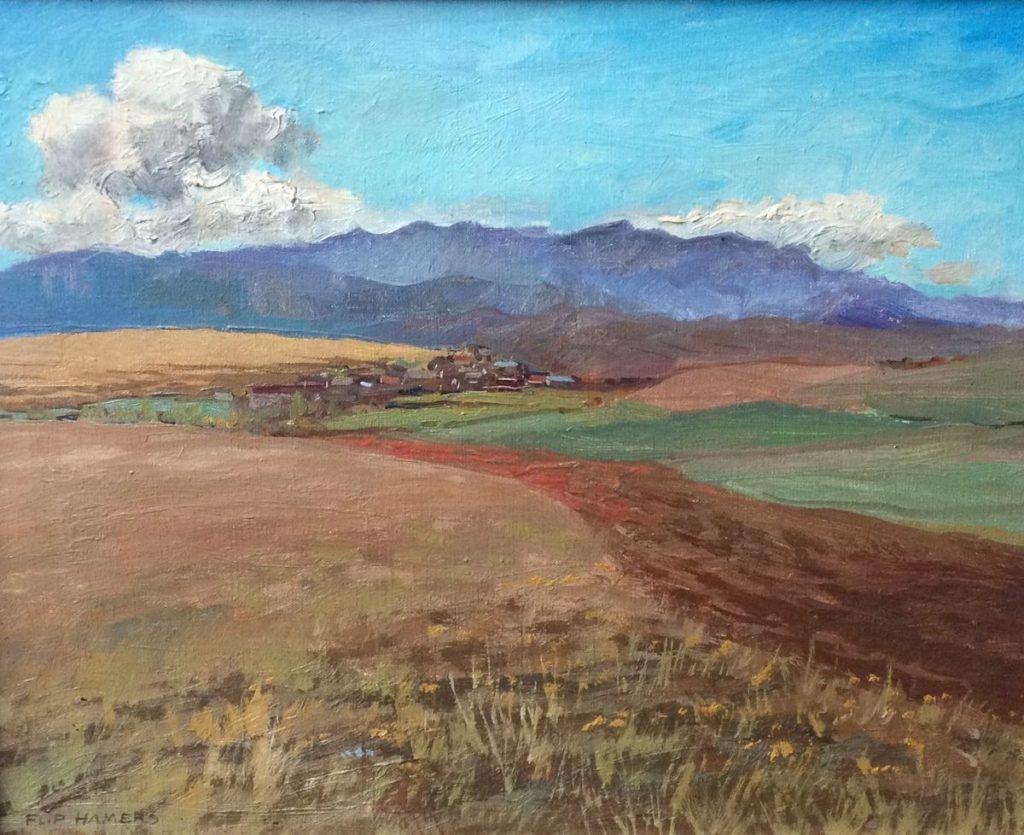 Kunst te koop bij Galerie Wijdemeren, Flip Hamers Frans landschap, 23-8-87 olie op doek, 40 x 49.5 cm linksonder gesigneerd