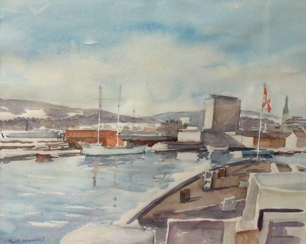 Kunst te koop bij galerie Wijdemeren van Flip Hamers Kristiansand aquarel op papier, 35.5 x 43.5 cm linksonder gesigneerd