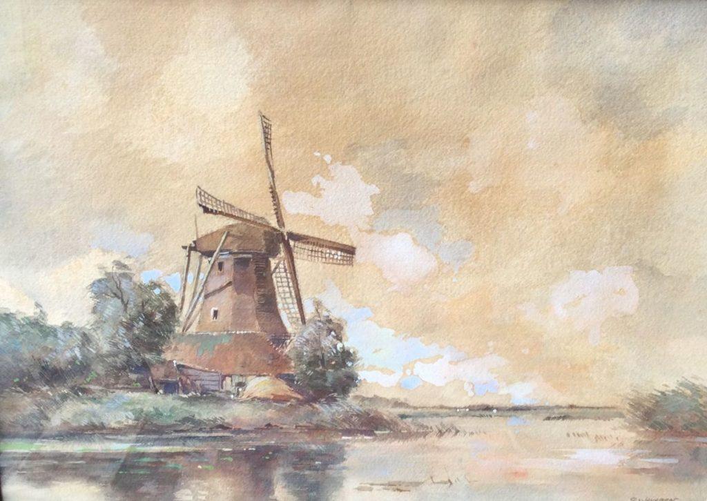 Kunst te koop bij Galerie Wijdemeren, G. v. Javeren Polderlandschap met molen aquarel op papier, 37.5 x 52 cm rechtsonder gesigneerd