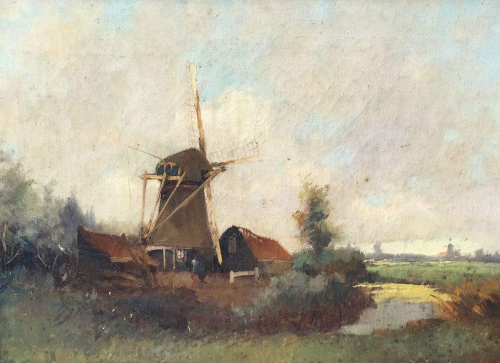 Kunst te koop bij Galerie Wijdemeren Molen in polderlandschap olie op doek, 30 x 40 cm rechtsonder onleesbaar gesigneerd