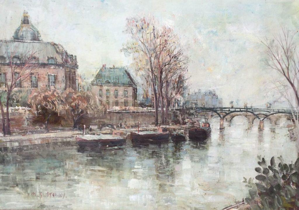 Kunst te koop bij Galerie Wijdemeren van David Stansky Stad aan het water olie op doek, 38 x 55 cm linksonder gesigneerd