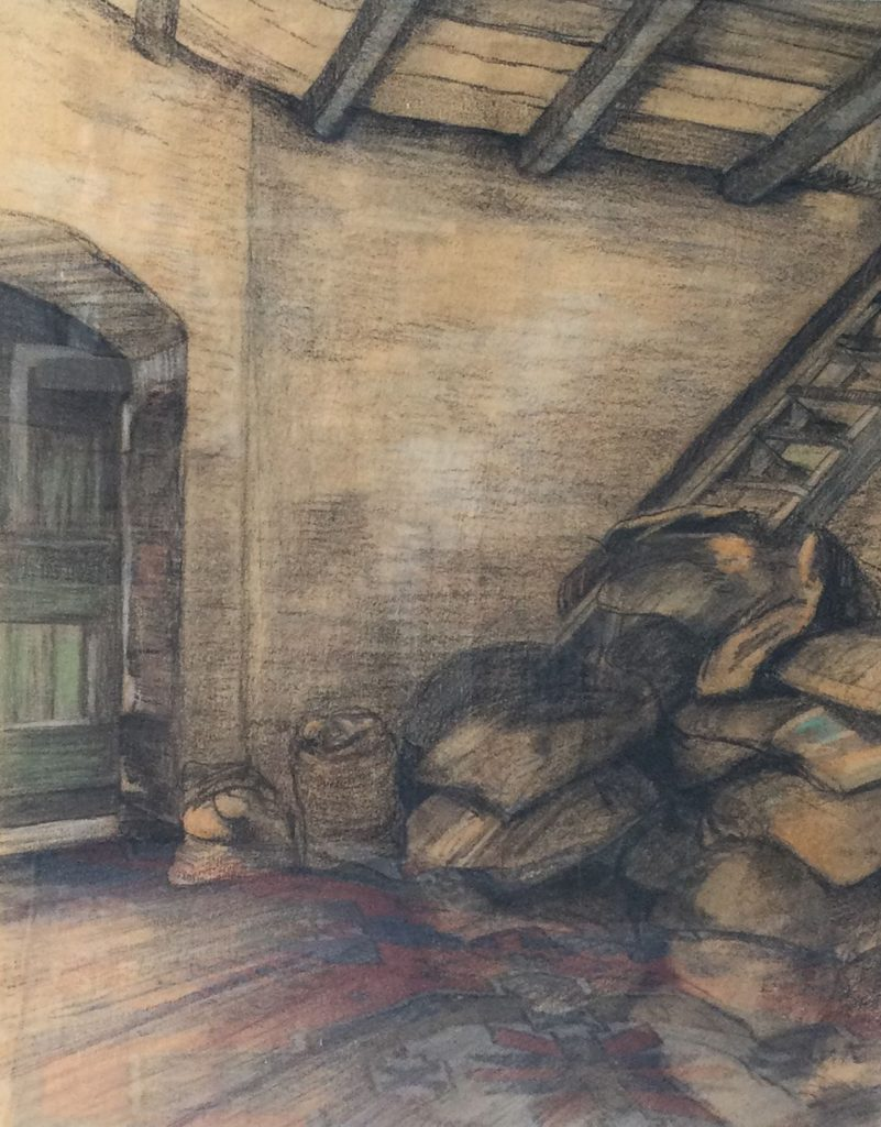 Kunst te koop bij Galerie Wijdemeren, A. v. K. Schuurinterieur krijt op papier, 53 x 43 cm rechtsonder gesigneerd