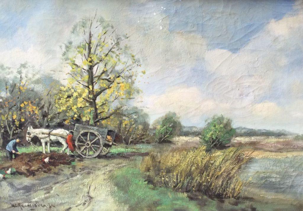 Kunst te koop bij Galerie Wijdemeren van H.C. Kranenburg Boer met paard en wagen op het land olie op doek, 50.5 x 70.5 cm linksonder gesigneerd