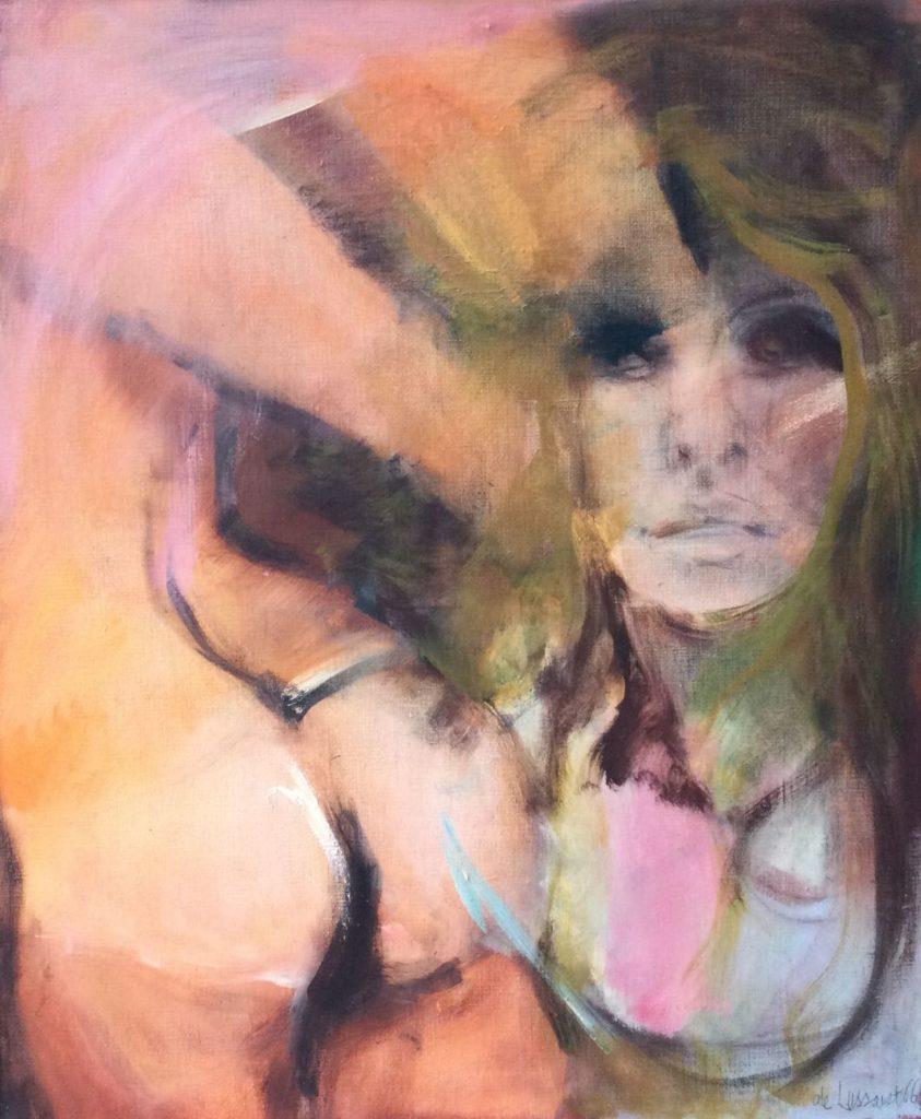 Kunst te koop bij galerie Wijdemeren, de Lussanet Vrouw olie op doek, 66.54 x 55 cm rechtsonder gesigneerd en gedateerd 66