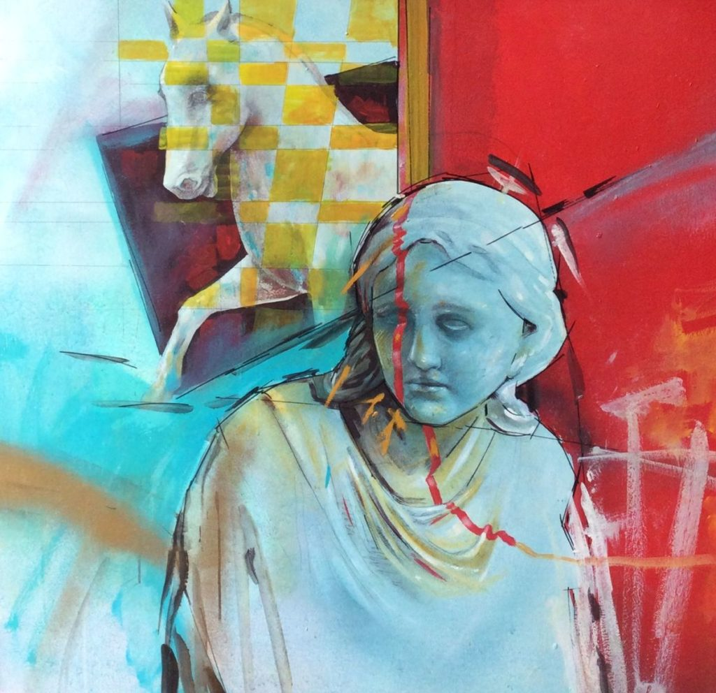 Kunst te koop bij galerie Wijdemeren, B. Goetjes Voorstelling met paard en klassiek beeld gemengde techniek op board, 98 x 98 cm rechtsonder gesigneerd, gedateerd 92