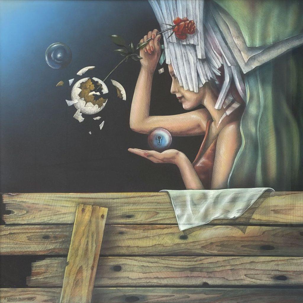 Kunst te koop bij Galerie Wijdemeren van Ben Goëtjes Surrealistische voorstelling met vrouw, roos en slot gemengde techniek op papier, 98 x 98 cm linksonder gesigneerd en gedateerd 91