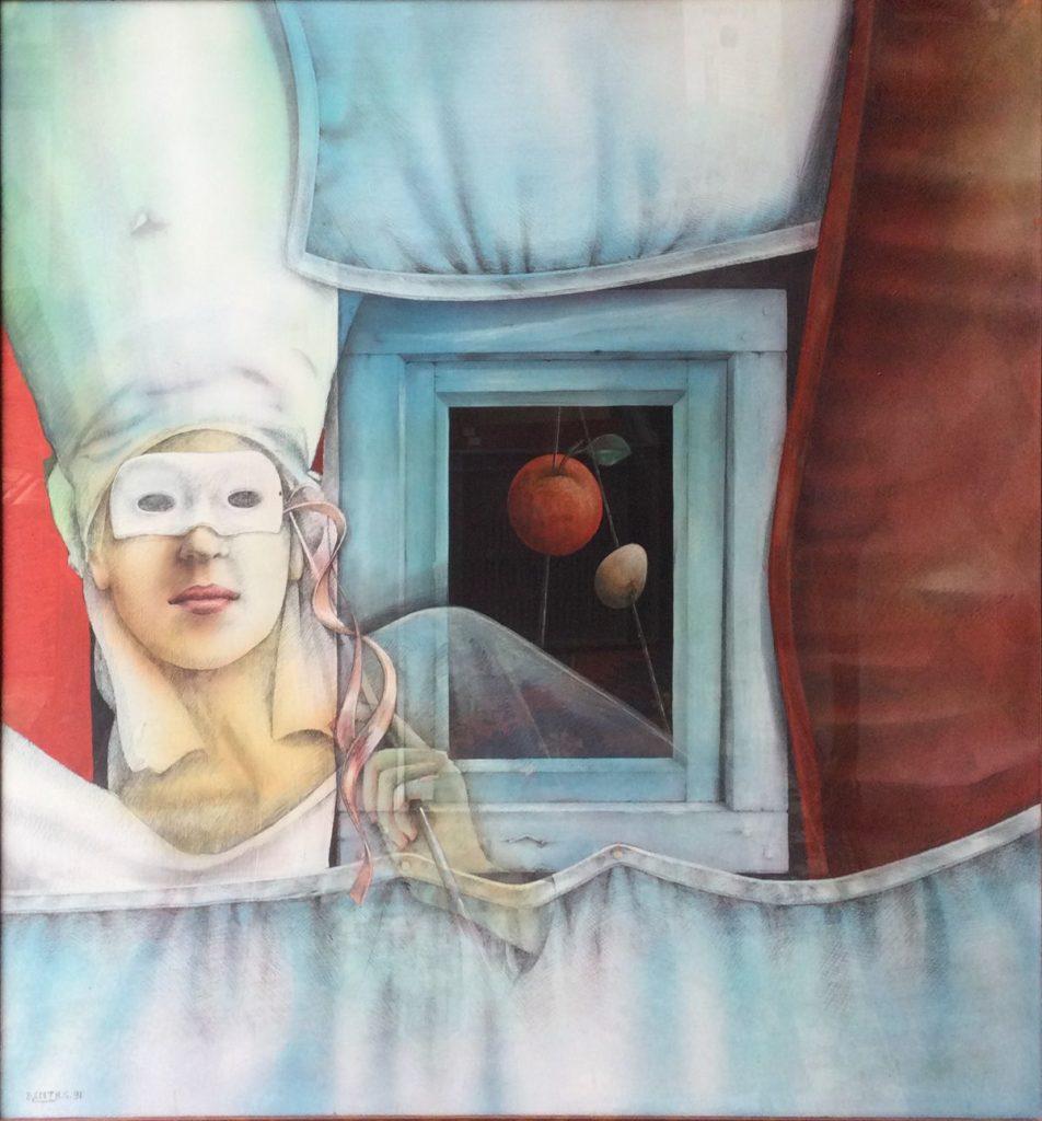 Kunst te koop bij Galerie Wijdemeren van Ben Goëtjes Surrealistische voorstelling met gemaskerde vrouw gemengde techniek op papier, 98 x 98 cm linksonder gesigneerd en gedateerd 91