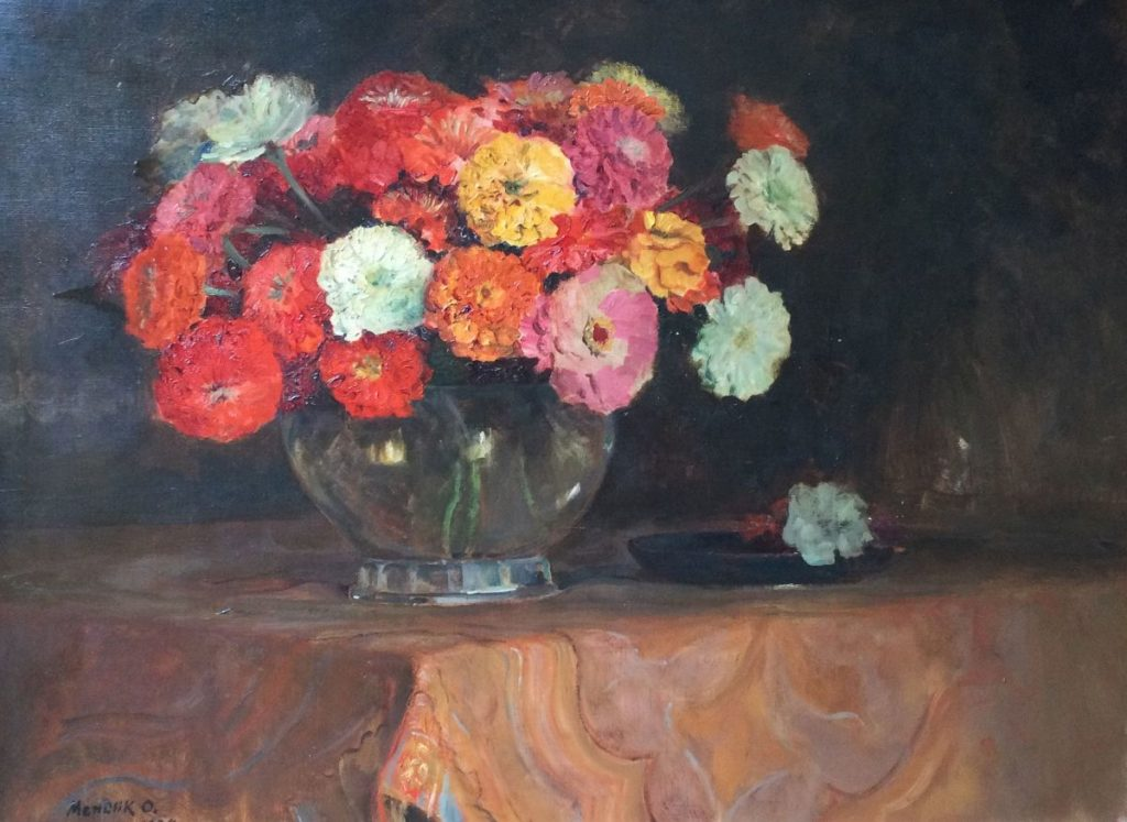 Kunst te koop bij Galerie Wijdemeren van kunstschilder C5238-1 Oscar Mendlik Bloemstilleven olie op doek, 70 x 95 cm linksonder gesigneerd, gedateerd 1934