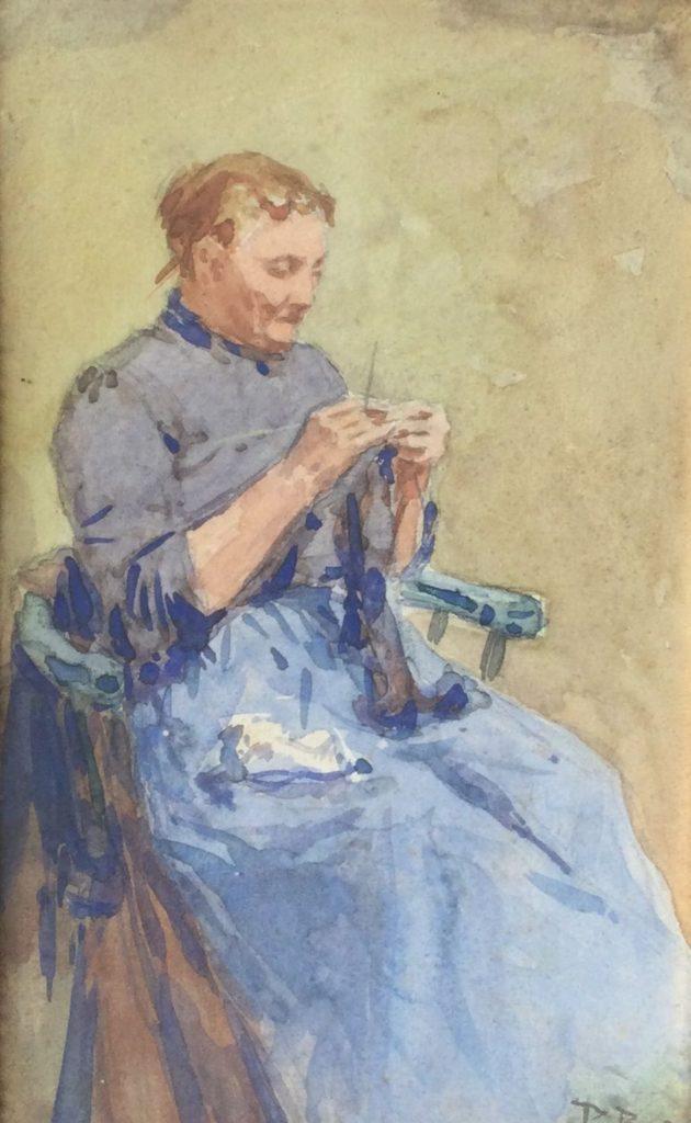 Kunst te koop bij Galerie Wijdemeren, Breiende dame aquarel op papier, 26.5 x 16.5 cm rechtsonder gesigneerd