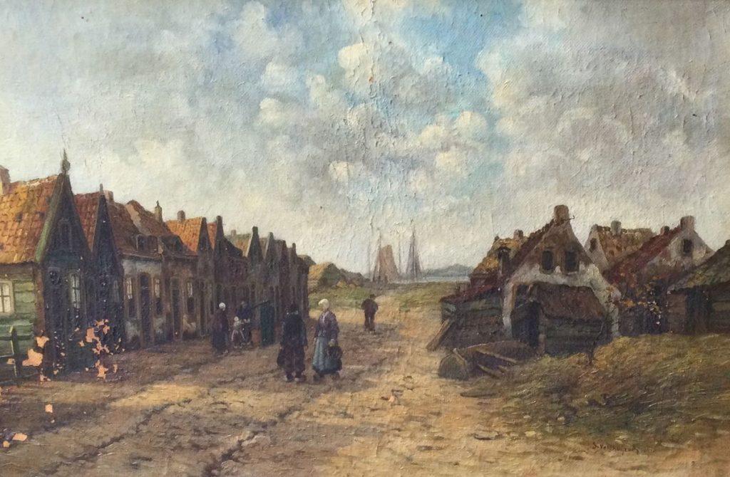 Kunst te koop bij Galerie Wijdemeren S. Velthuijzen Dorpsgezicht olie op doek, 40 x 60 cm rechtsonder gesigneerd