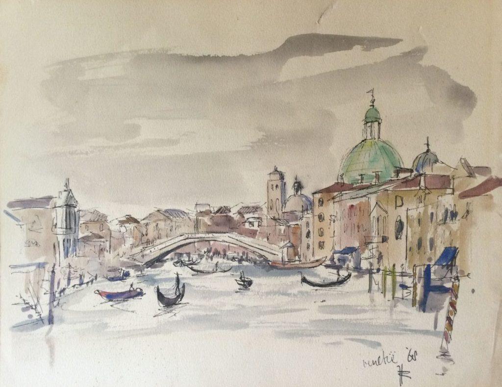 Kunst te koop bij Galerie Wijdemeren, Jan den Hengst Venetië gemengde techniek op papier (inkt en aquarel), 24 x 30.5 cm rechtsonder gesigneerd en gedateerd 68