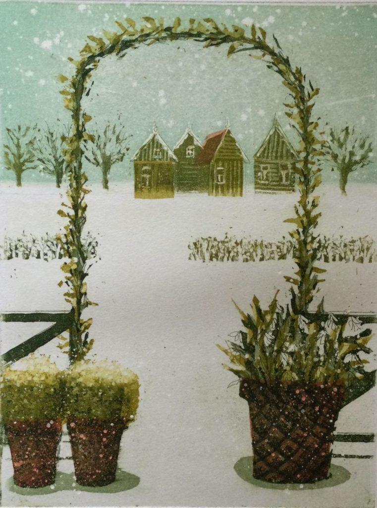 Kunst te koop bij Galerie Wijdemeren van Laetitia de Haas Winter kleurenets, 19.5 x 15 cm rechtsonder gesigneerd en gedateerd 93, linksonder oplage 69/500