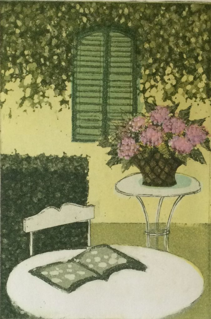 Kunst te koop bij Galerie Wijdemeren van Laetitia de Haas Provesce kleurenets, 15 x 10 cm rechtsonder handgesigneerd en gedateerd 93, linksonder oplage 165/500