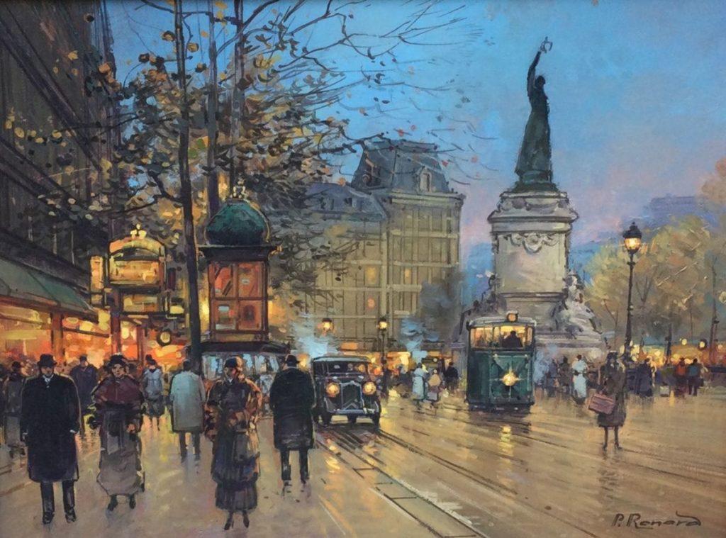 Kunst te koop bij Galerie Wijdemeren van kunstschilder Paul Renard Parijs marouflé (op schilderskarton), 23 x 60.5 cm rechtsonder gesigneerd