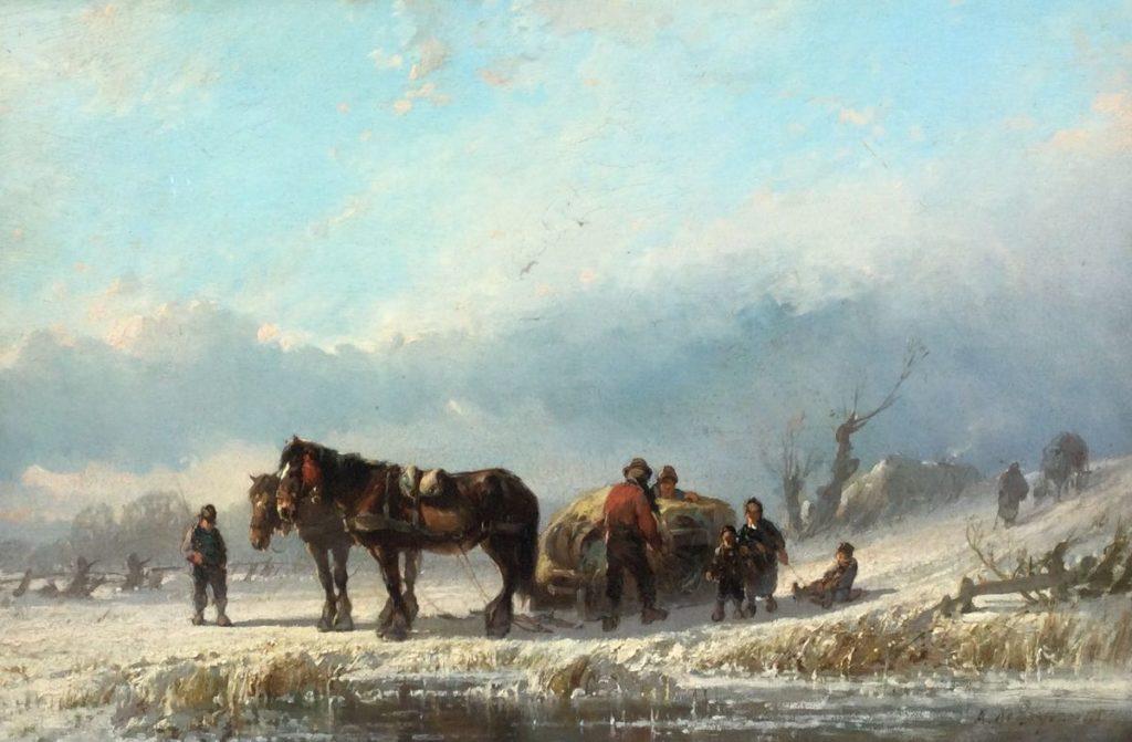 Kunst te koop bij Galerie Wijdemeren, Alfred E.A. de Bijlandt Winter olie op paneel, 29 x 43 cm rechtsonder gesigneerd