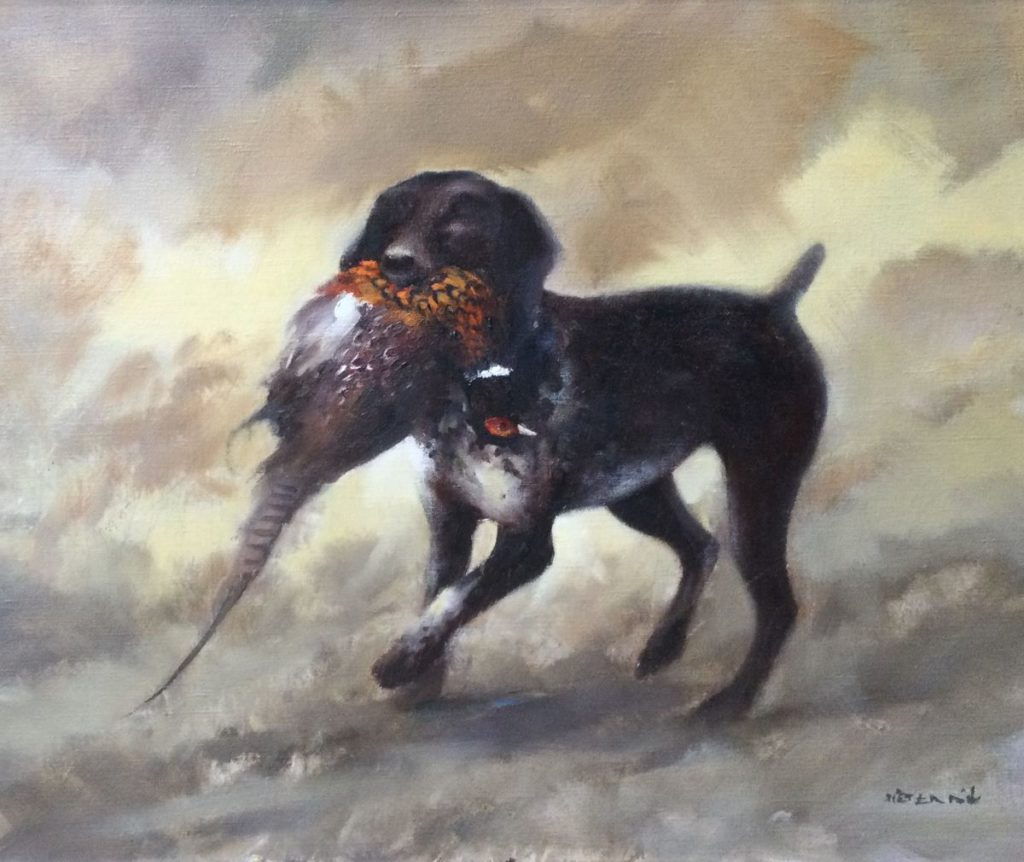 Kunst te koop bij Galerie Wijdemeren van kunstschilder Pieter Dik Jachthond met de buit olie op doek, 70.5 x 85.5 cm rechtsonder gesigneerd