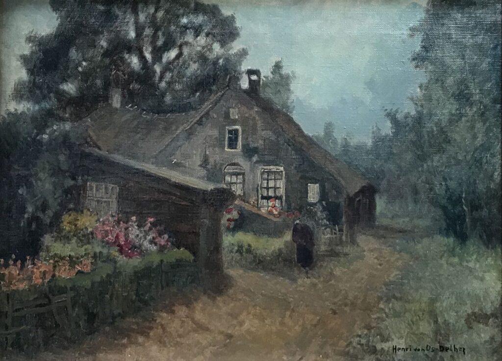 Kunstenaar Hendrik van Os - Delhez C525 Henri van Oz-Delhez boerderij olie op doek 30 x 40 cm r.o. gesigneerd verkocht