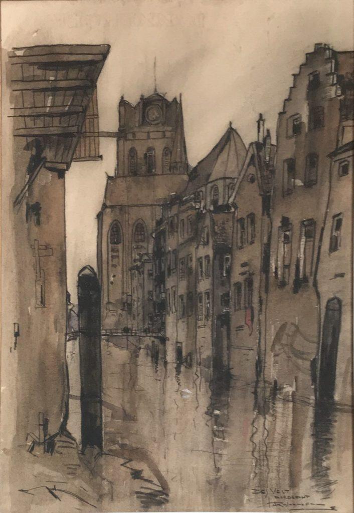 schilderijen te koop van kunstschilder, Jan Rijlaarsdam De Vest, Dordrecht gemengde techniek op papier, beeldmaat 49 x 33.5 cm rechtsonder gesigneerd, expositie, galerie wijdemeren breukeleveen
