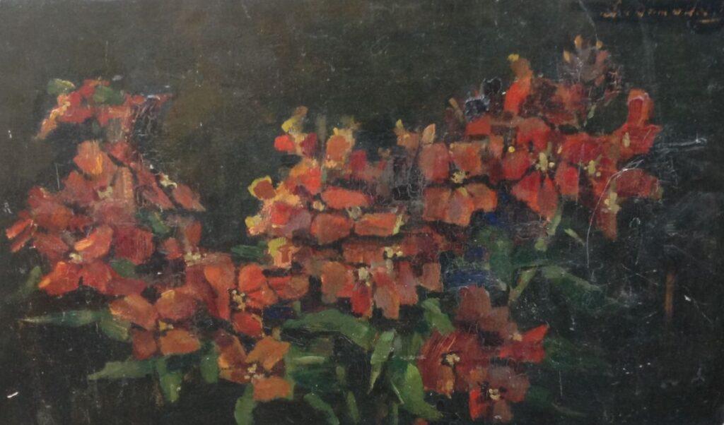 Kunstenaar Lucie van Dam van Isselt C536 Lucie van Dam van Isselt Muurbloemen olie op paneel, 22 x 35 cm r.b. gesigneerd