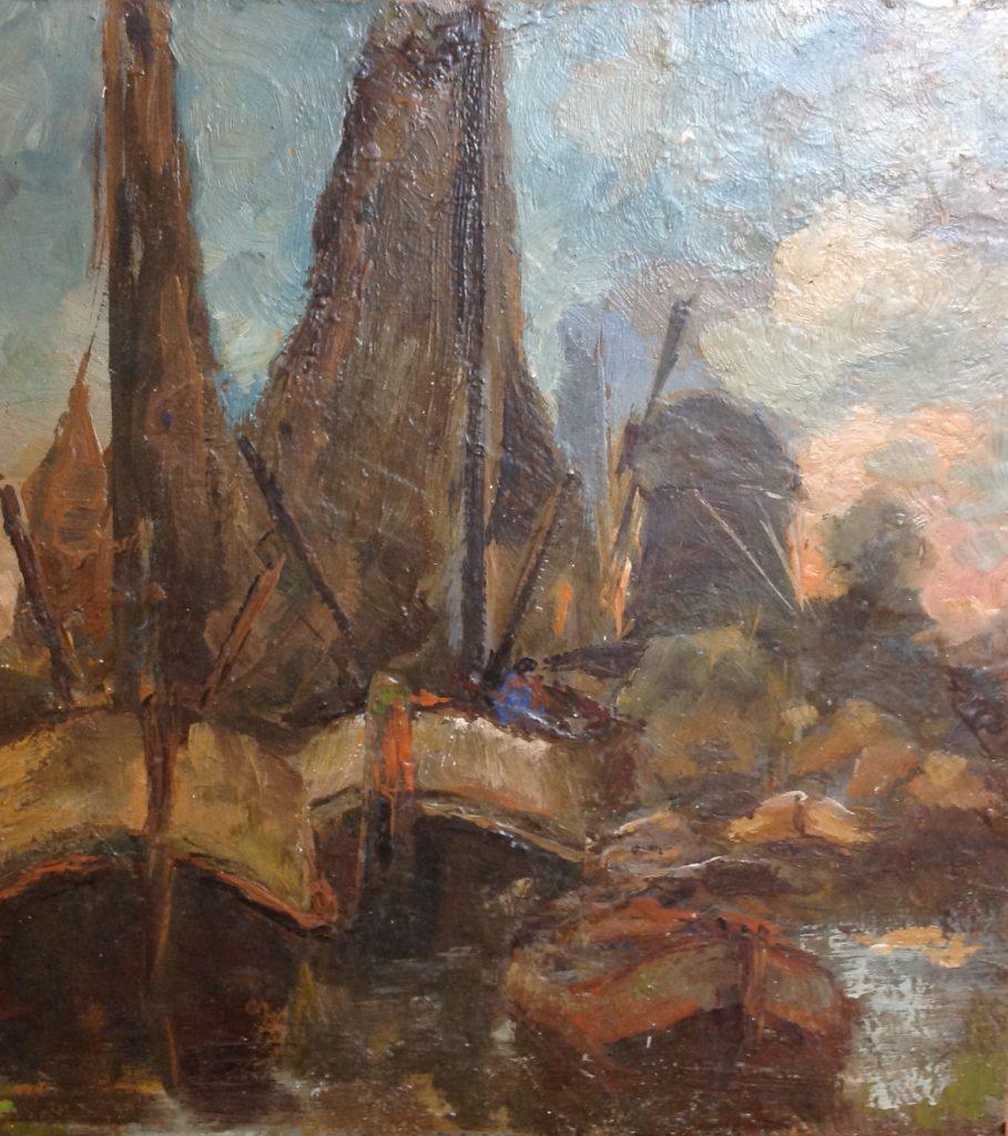 Kunstenaar Johannes Willem Pootjes C53 Johannes Willem Pootjes boten op vaart olie op paneel