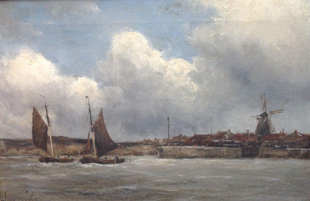 Kunstenaar Hermanus Koekkoek jr. C544, Hermanus Koekkoek jr. 'Havenmond' olie op doek, 30,5 x 46 cm l.o. gesigneerd Jan van Couver particuliere collectie