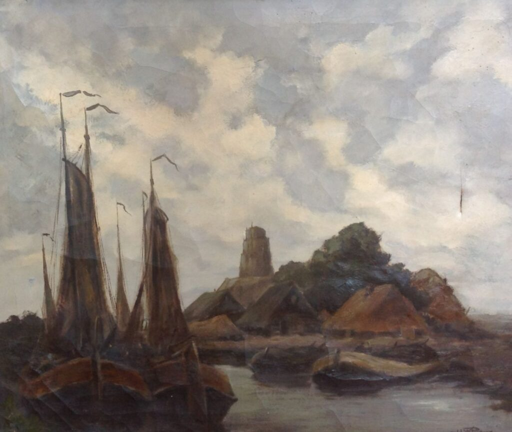 Kunstenaar Johannes Willem Pootjes C55, Johannes Wilem Pootjes, Boten in de haven olieverf, r.o. gesigneerd verkocht