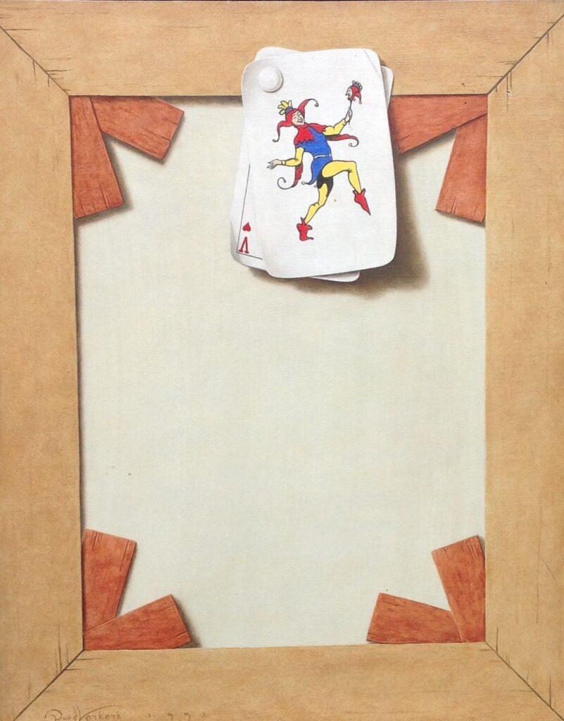 C579 Ruud Verkerk 'Spieraam met twee kaarten' olie op paneel, 24 x 30 cm l.o. gesigneerd, schilderijen te koop bij galerie wijdemeren breukeleveen