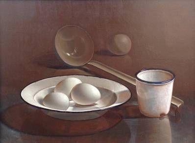 Kunstenaar Henri Bol C581, Henri Bol Stilleven met eieren olie op paneel, 30 x 40 cm r.o. gesigneerd verkocht