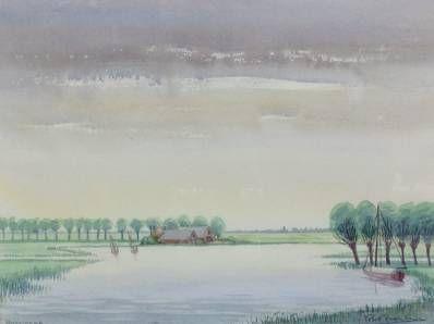 Schilderijen te koop, kunstschilder Piet Bekker Landschap Gouache, beeldmaat 34,5 x 46 cm rechtsonder gesigneerd, expositie Galerie Wijdemeren Breukeleveen