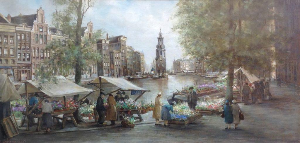 Schilderijen te koop van kunstschilder C.A. Streefkerk Bloemenmarkt olie op doek, doekmaat 41 x 81 cm gesigneerd, Expositie Galerie Wijdemeren Breukeleveen