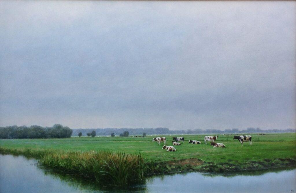 Kunstenaar Jan Scholten C601, Jan Scholten, 'Koeien in het weiland', olie op paneel, beeldmaat 38 x 59 cm, r.o. gesigneerd