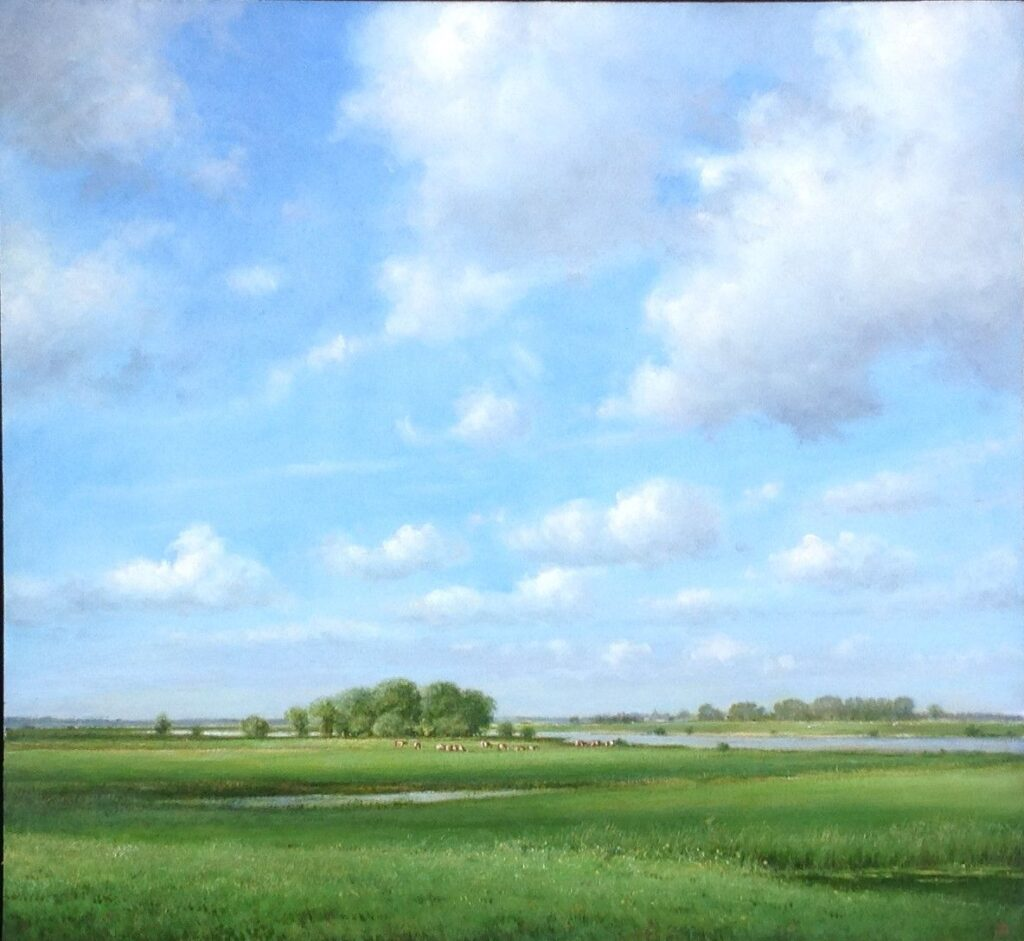 Kunstenaar Jan Scholten C602, Jan Scholten, 'Weiland', olie op paneel, 42,5 x 46 cm, r.o. gesigneerd