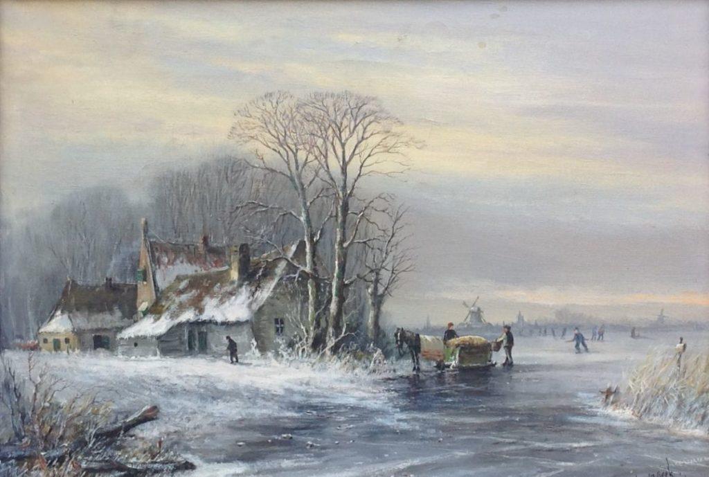 Schilderijen te koop, kunstschilder JM van Beek wintergezicht olie op doek, gesigneerd, Expositie Galerie Wijdemeren Breukeleveen
