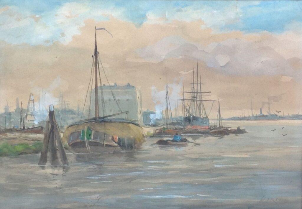 A. Dirck Haven aquarel, 23 x 33 cm r.o. gesigneerd