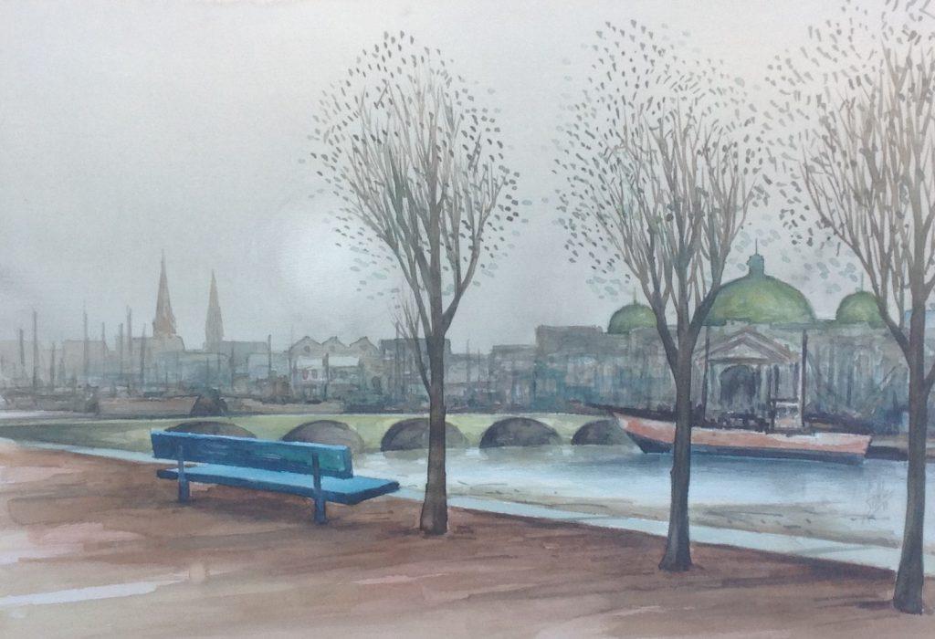 Kunstenaar Dook Everse C670, Dook Everse 'Langs de Seine', nr. 28 Aquarel Beeldmaat : 48 cm x 69 cm