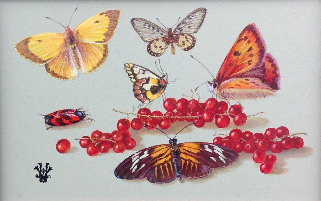 Schilderijen te koop van kunstschilder Hans Verhoef stilleven met fruit en vlinders olie op paneel, gesigneerd, Expositie Galerie Wijdemeren Breukeleveen