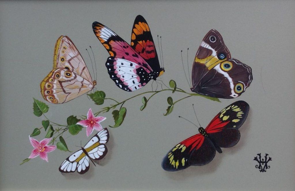 Kunstenaar Hans Verhoef C671-2 Hans J. Verhoef Stilleven met fruit en vlinders olie op paneel, 16 x 24 cm ro gesigneerd met monogram particuliere collectie