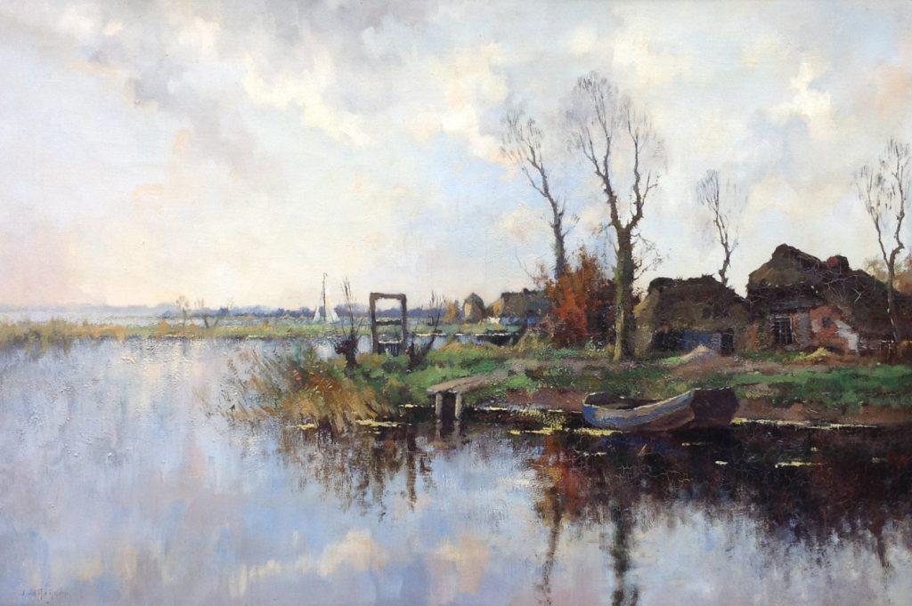 schilderijen te koop van kunstschilder, J.C. van der Heijden Boerderij aan een boerenvaart olie op doek, doekmaat 61 x 91 cm linksonder gesigneerd, expositie, galerie wijdemeren breukeleveen
