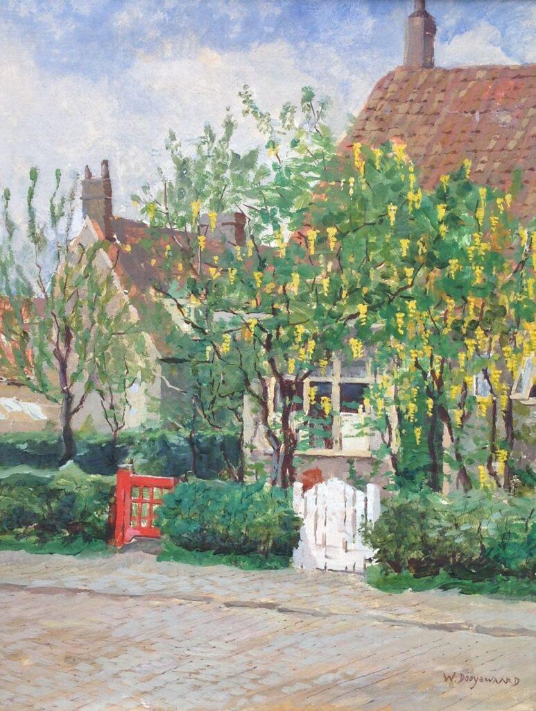 Kunstenaar Willem Dooyewaard C734, Willem Dooyewaard,  Straatje in Blaricum  olie op board, 40 x 50 cm, r.o. gesigneerd  verkocht