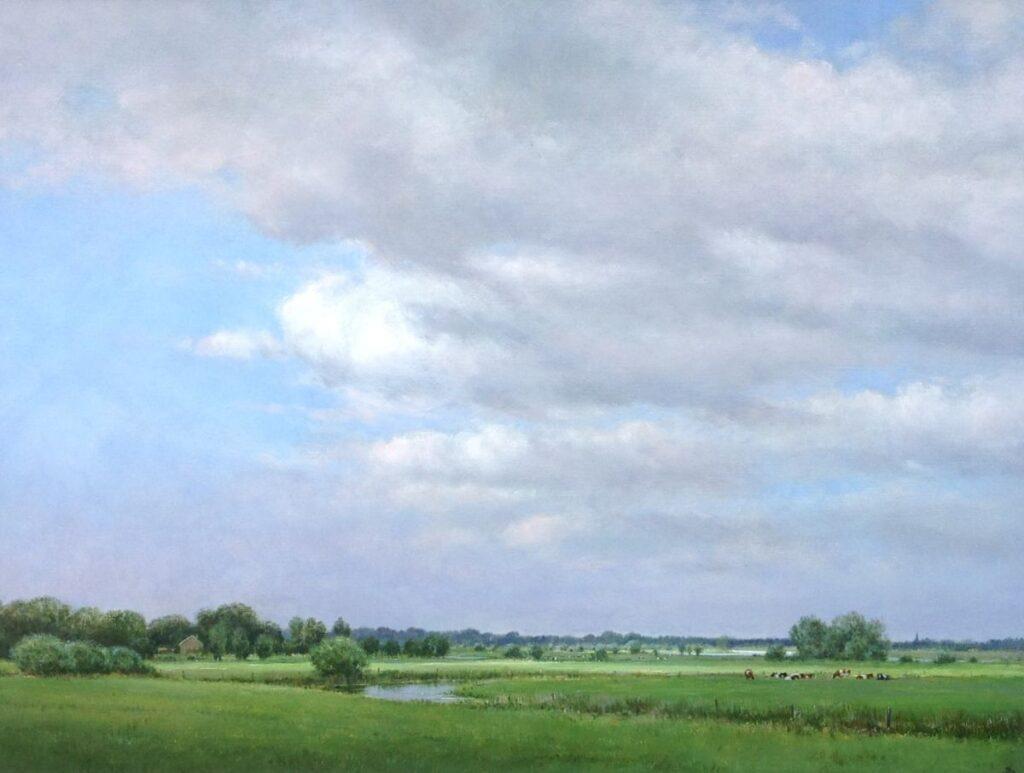 Schilderijen te koop van kunstschilder Jan Scholten Weiland olie op doek, doekmaat 60 x 80 cm r.o. gesigneerd particuliere collectie, Expositie Galerie Wijdemeren Breukeleveen