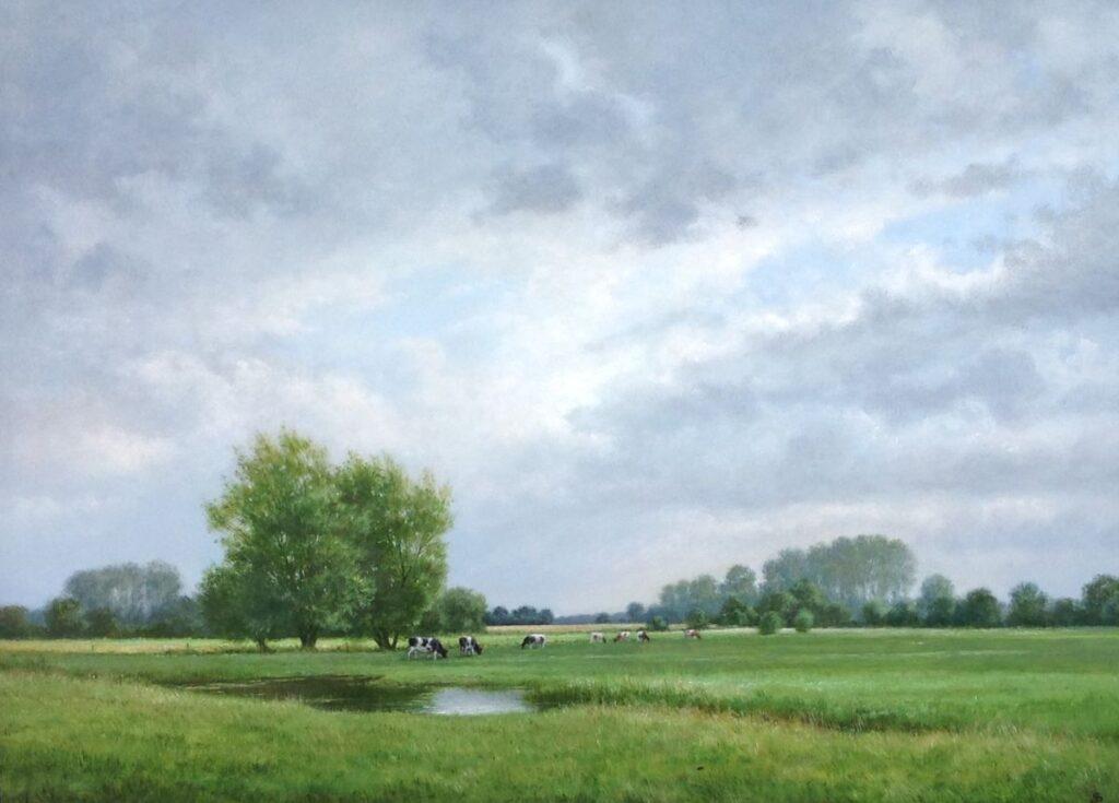Kunstenaar Jan Scholten C739 Jan Scholten 'Weiland' Olie op paneel, paneelmaat 70 x 50 cm Rechtsonder gesigneerd particuliere collectie