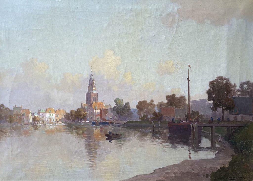 Kunst te koop bij galerie Wijdemeren van kunstschilder Jan Knikker jr. Dorpsgezicht olie op doek, 50 x 69 cm rechtsonder gesigneerd