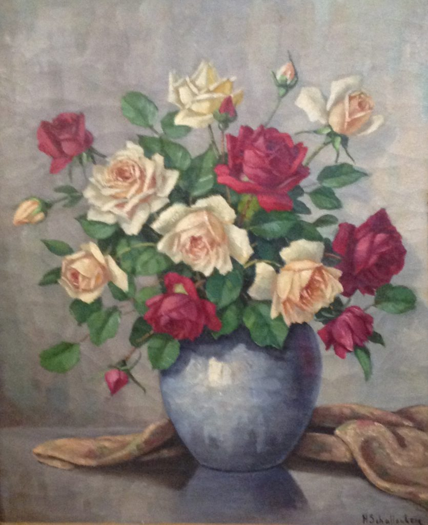Kunstenaar Huibert Schallenberg C763, Huibert Schallenberg Bloemstilleven met rozen Olie op doek, beeldmaat: 61 x 54 cm Rechtsonder gesigneerd
