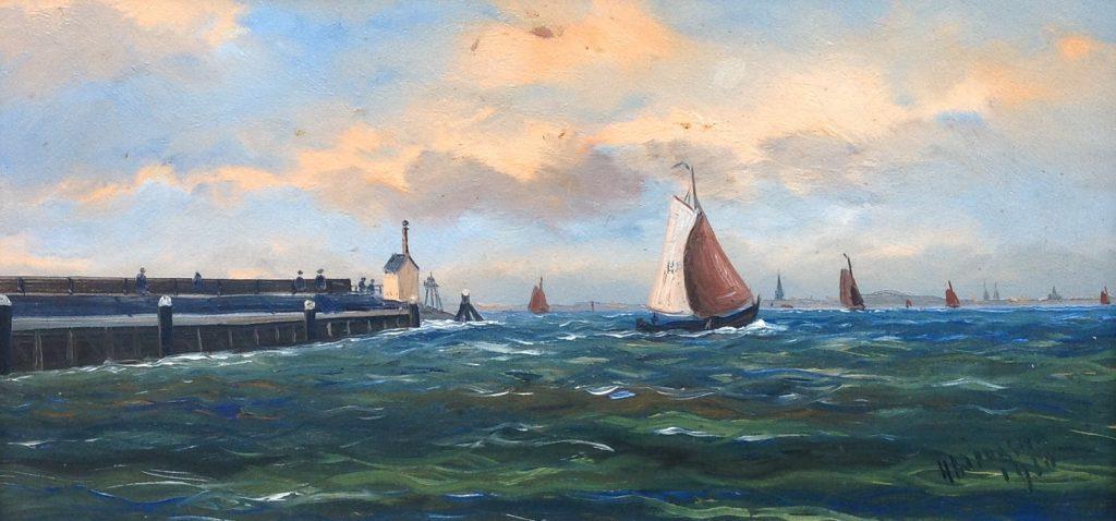 Schilderijen te koop, kunstschilder Haaike Abraham Jaarsma zeilschepen aan de kust r.o. gesigneerd, Expositie Galerie Wijdemeren Breukeleveen