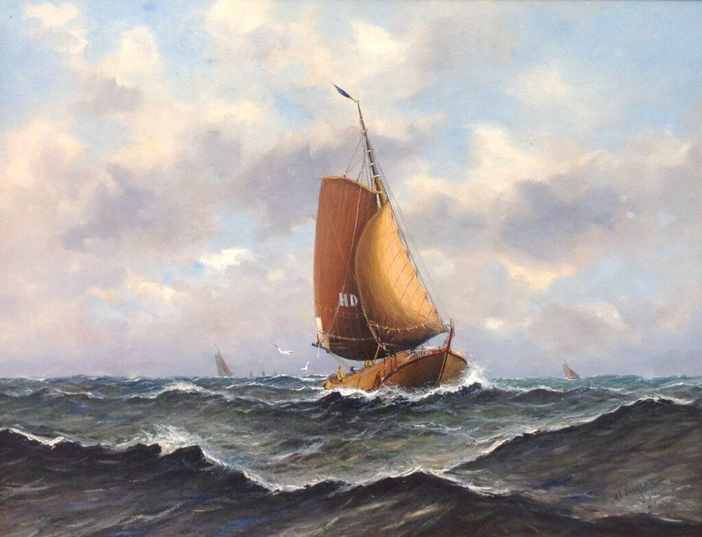 Schilderijen te koop, kunstschilder Haaike Abraham Jaarsma zeilschepen op zee r.o. gesigneerd, Expositie Galerie Wijdemeren Breukeleveen