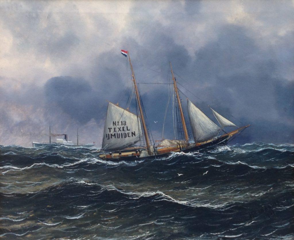 Schilderijen te koop, kunstschilder Haaike Abraham Jaarsma Texel olie op doek, 50 x 60 cm r.o. gesigneerd en gedateerd, Expositie Galerie Wijdemeren Breukeleveen